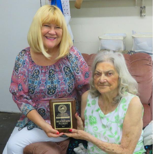 he Mountain Florist- Joyce Stallard- presented by Rita Surratt, Chamber President- Longevity Award (50 years in business)