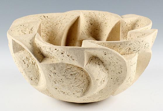 1) Polyanth, 9inch D x 4.5inch H, Hand Carved, unglazed, stoneware   (1).JPG