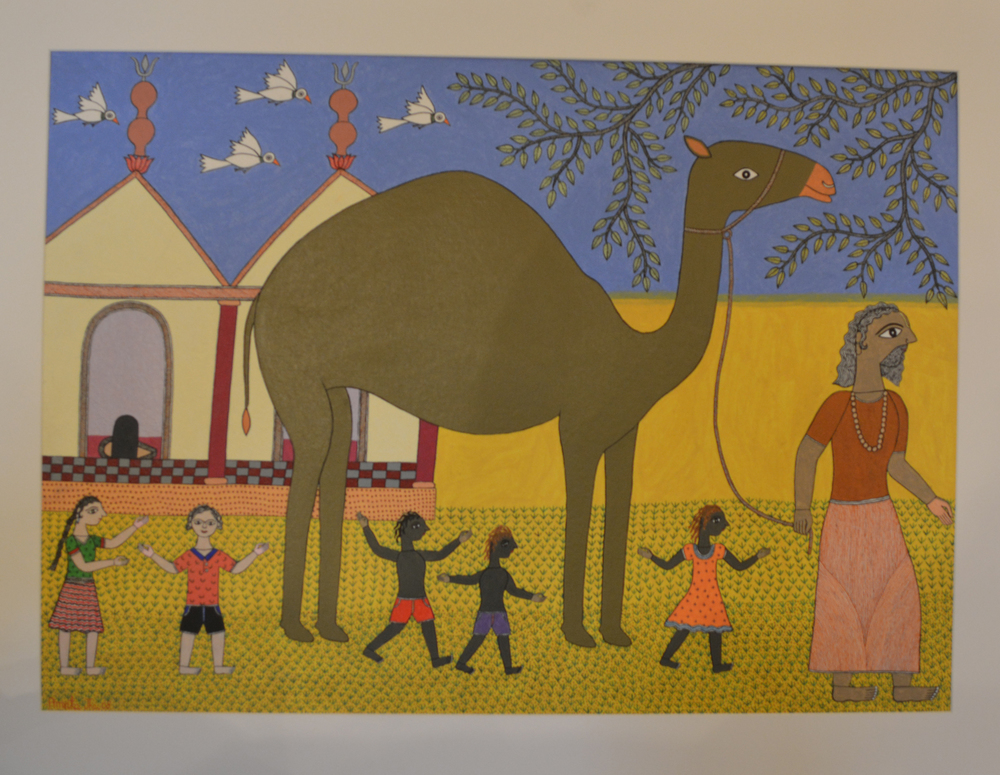 Amrita Jha, The Camel Seller, acrylic and pen on paper, 71x50cm, 2008.jpg