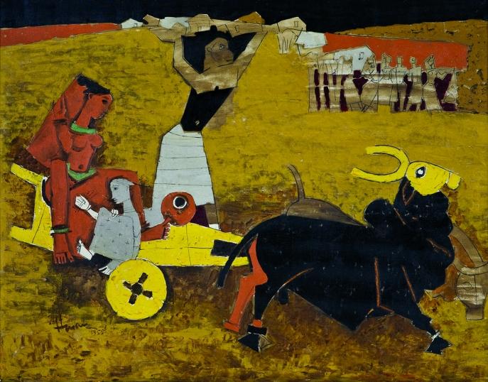 M. F. Husain. Yatra, 1955. Oil on canvas. H. 33 1/2 x W. 42 1/2 in. (85.1 x 108 cm). Collection Kiran Nadar Museum of Art, New Delhi. Collection Kiran Nadar Museum of Art, New Delhi
