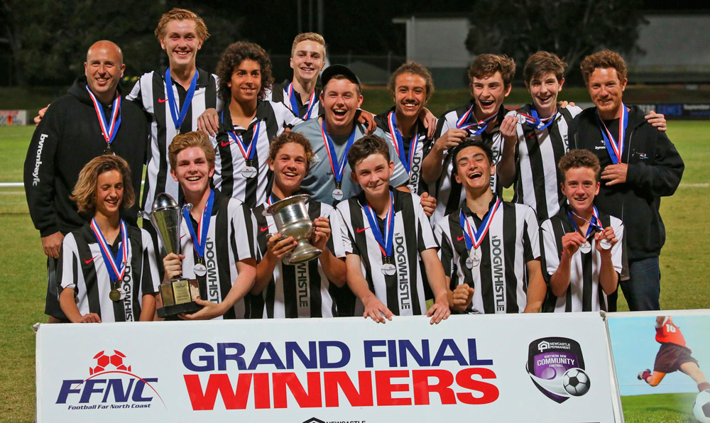 Byron's Grade 16 Firsts celebrate their Grand Final win