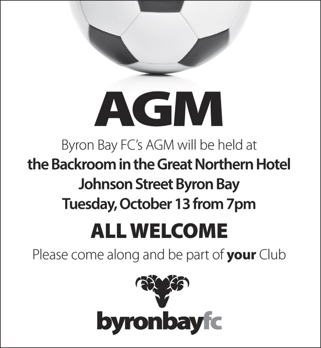 48c52c4dd Byron Bay FC s AGM will be held at the Backroom in the Great Northern  Hotel
