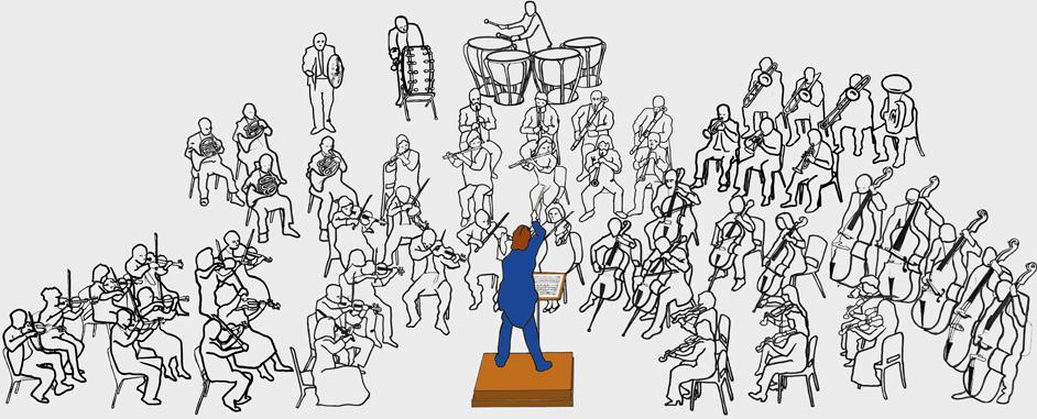 Illistration med dirigenten i tekstbox 1.