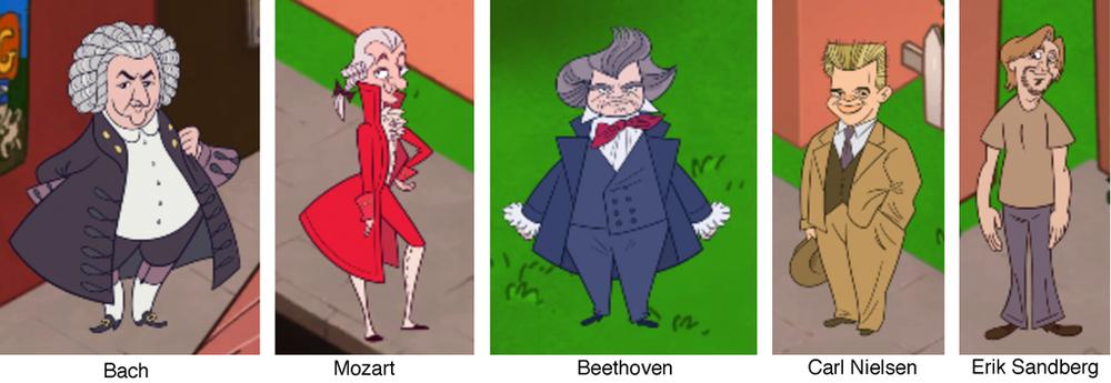 De 5 komponister, man kan møde i byen.