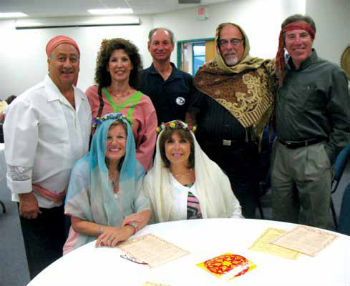 Congregants acting out the Book of Ruth for a Shavuot celebration. Back row left is Itzhak Magal, husband of Rabbi Alicia Magal, pictured to her right.