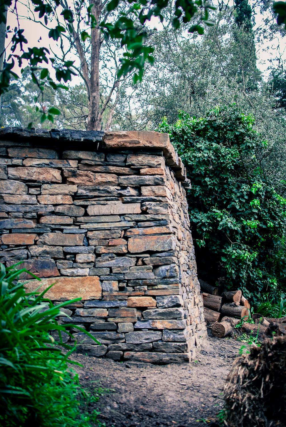 Kanmantoo Bluestone Dry Stone Retaining Wall. Belair, South Australia