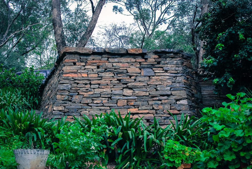 Kanmantoo Bluestone Dry Stone Retaining Wall. Belair, Adelaide, South Australia