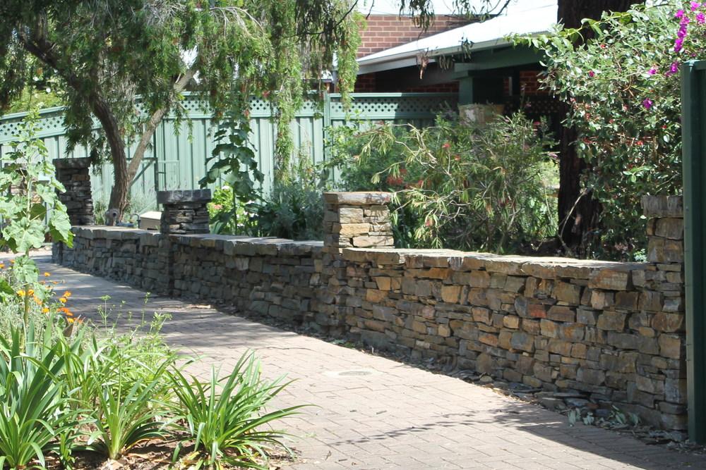 Kanmantoo Bluestone Dry Stone Wall. Kensington Gardens, Adelaide, South Australia