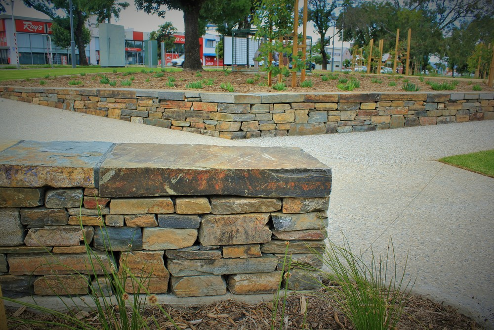 Modern dry stone walls. Adelaide High School, South Australia