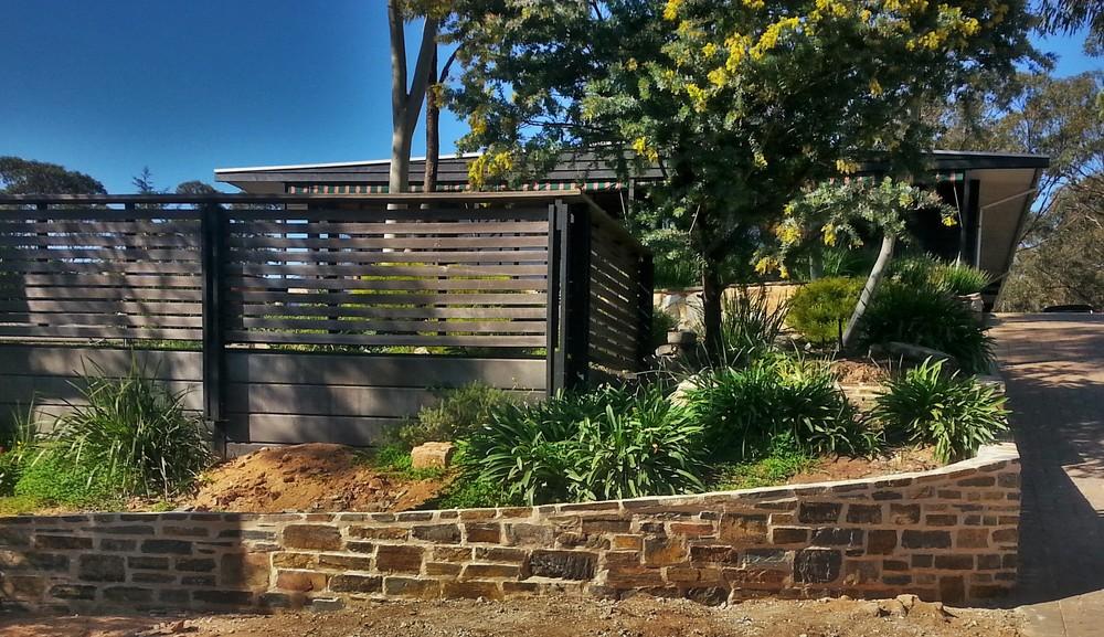 Entry retaining walls. Blackwood, South Australia