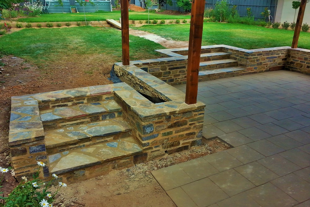 Retaining wall and steps. Blackwood, Adelaide, South Australia.