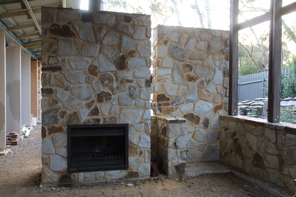 Feature walls and fireplace. Belair, Adelaide, South Australia.