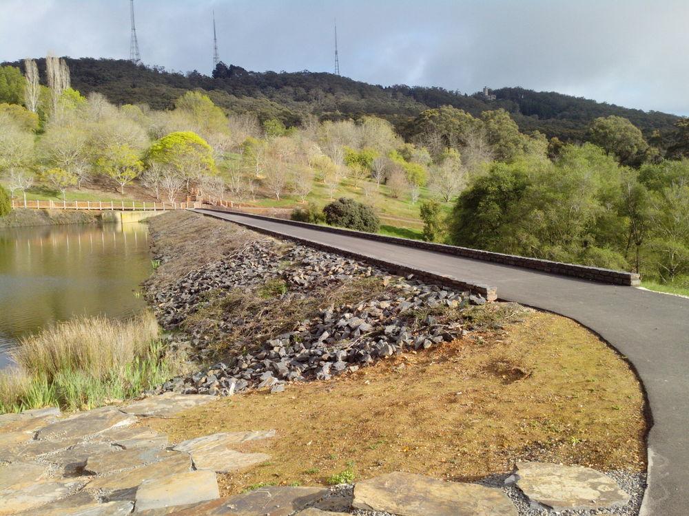 Low Basalt walls. Mt Lofty Botanical Gardens, South Australia.
