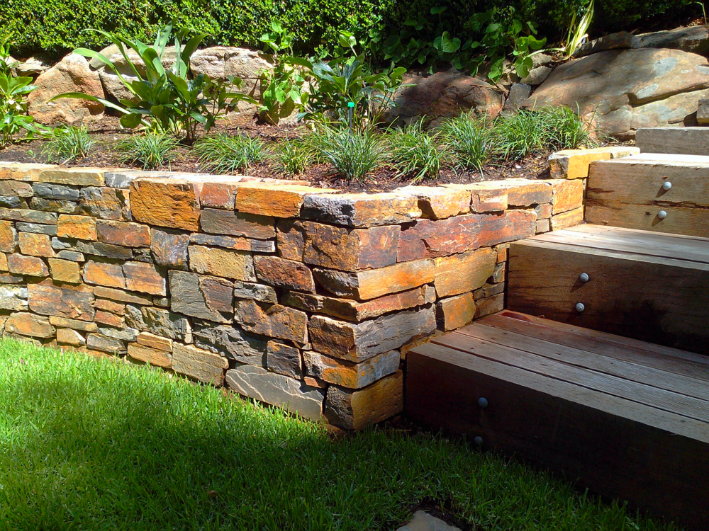 Modern Dry Stone Retaining Wall. Aldgate, South Australia