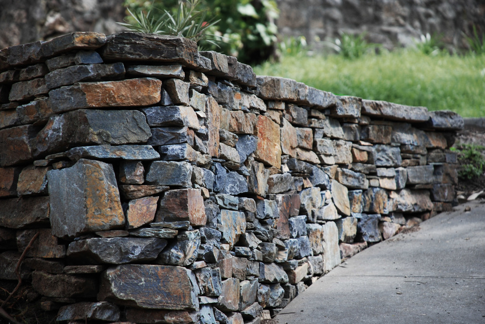 Modern dry stone retaining wall. Belair, South Australia