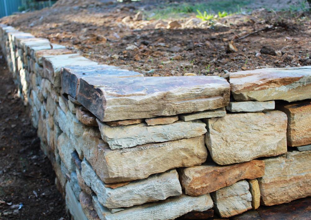 Carey Gully Sandstone Dry Stone Retaining Wall. Bridgewater, South Australia