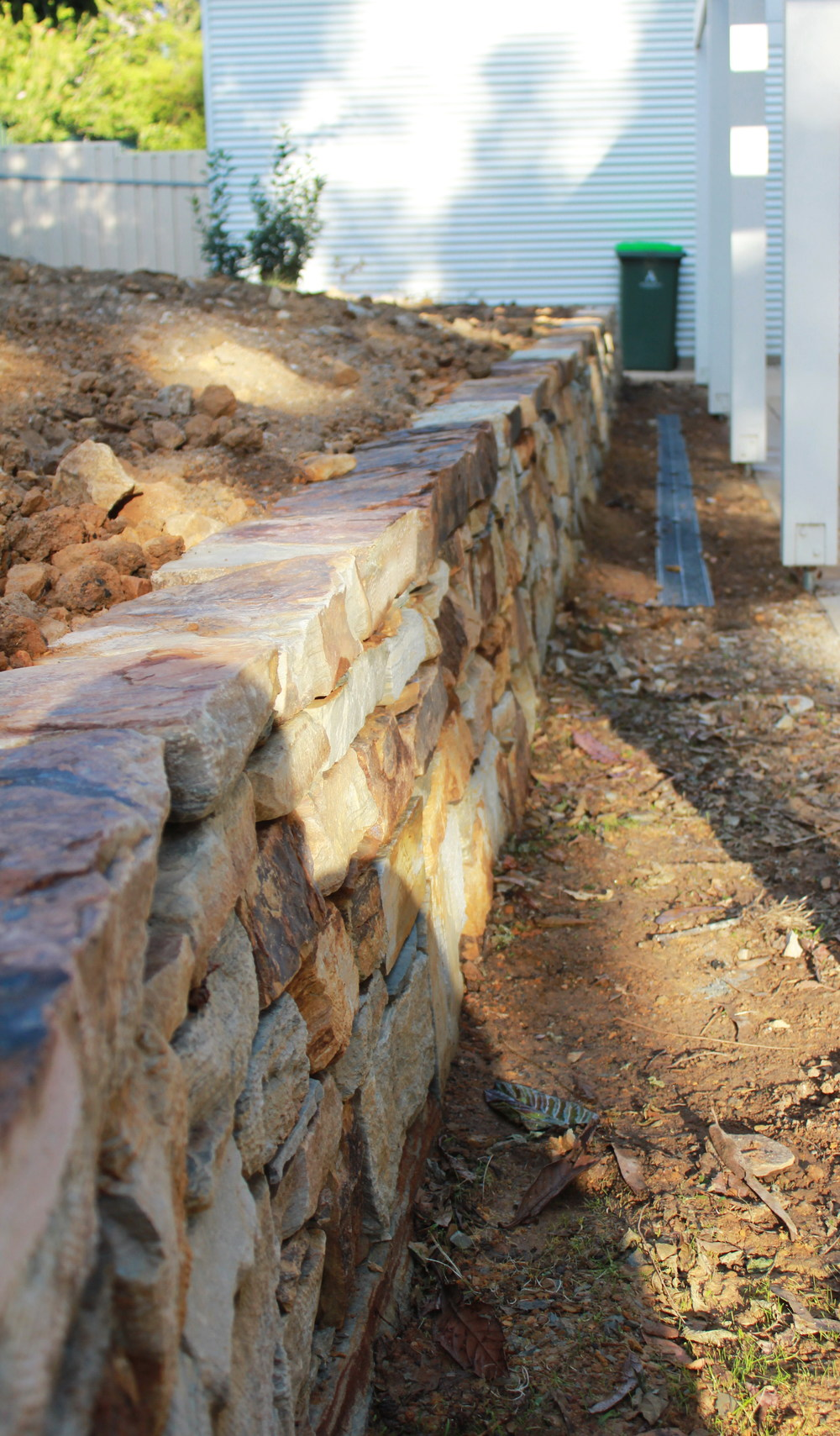 Carey Gully Sandstone Dry Stone Retaining Wall. Bridgewater, Adelaide Hills, South Australia