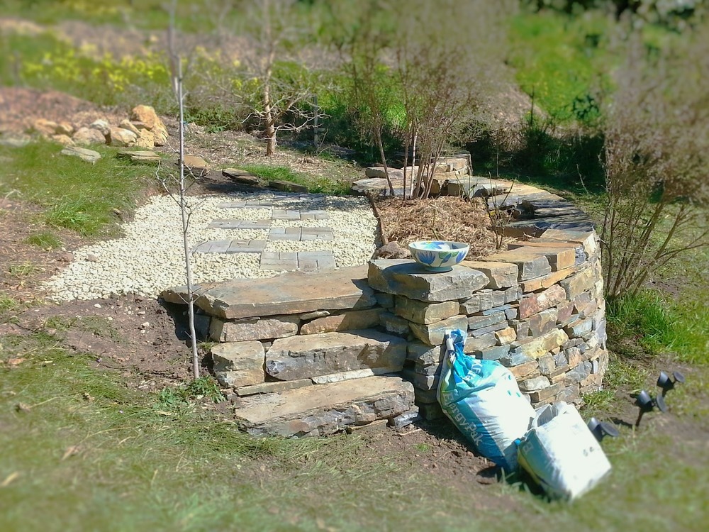 Traditional dry stone retaining wall and steps. Crafers, South Australia