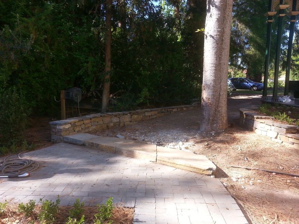 Dry stone feature wall, retaining wall and step. Hawthorn, Adelaide, South Australia
