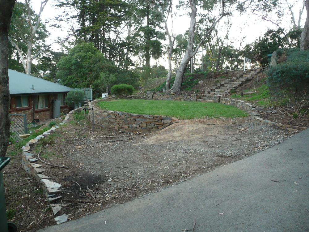 Dry stone retaining walls and steps. Hawthorndene, South Australia