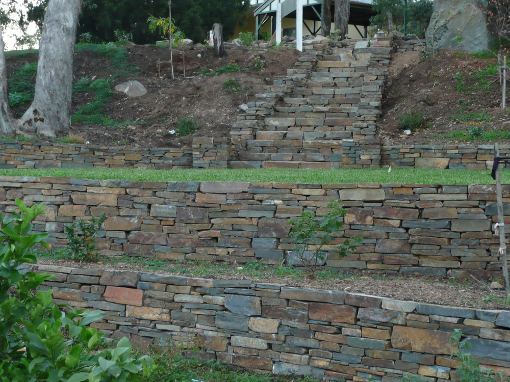 Dry stone retaining walls and steps. Hawthorndene, Adelaide, South Australia