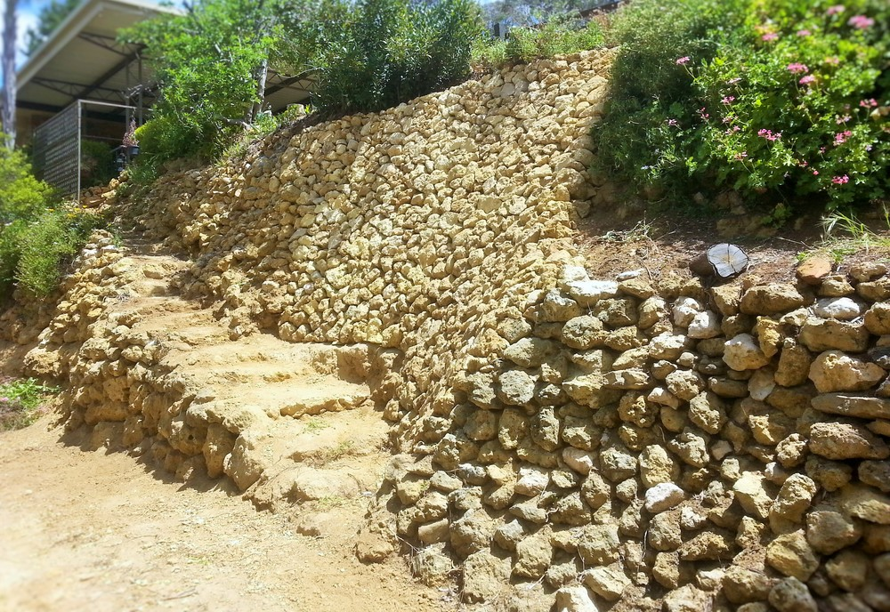 Dry Stone Retaining Wall Repair. Mannum, South Austalia