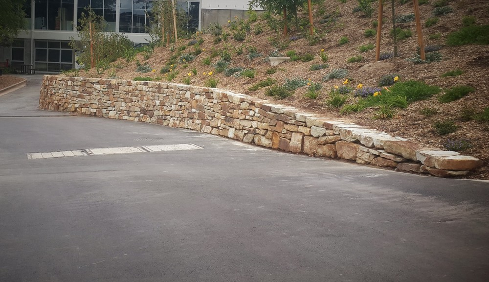 Modern Dry Stone Wall. Flinders University, Bedford Park, Adelaide, South Australia