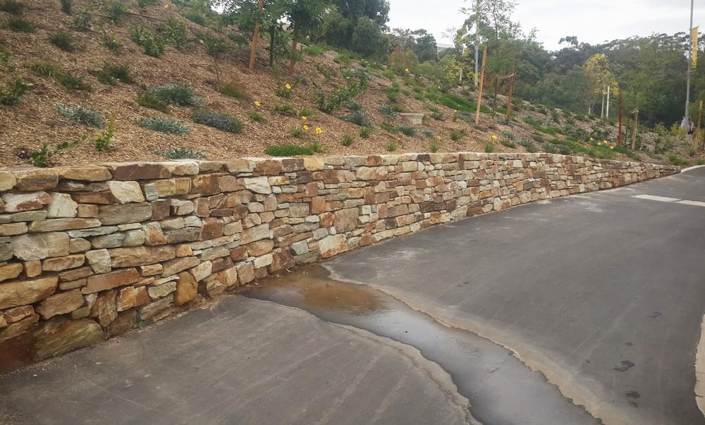 Modern Dry Stone Wall. Flinders University, Bedford Park, South Australia