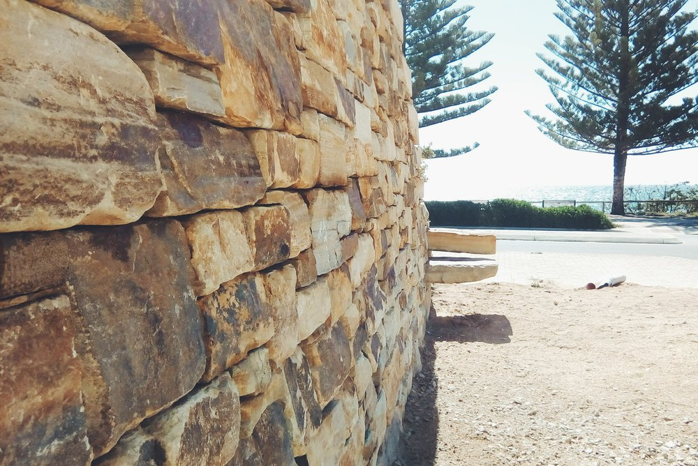 Carey Gully Sandstone Traditional Dry Stone Retaining Wall. Christies Beach, Adelaide, South Australia