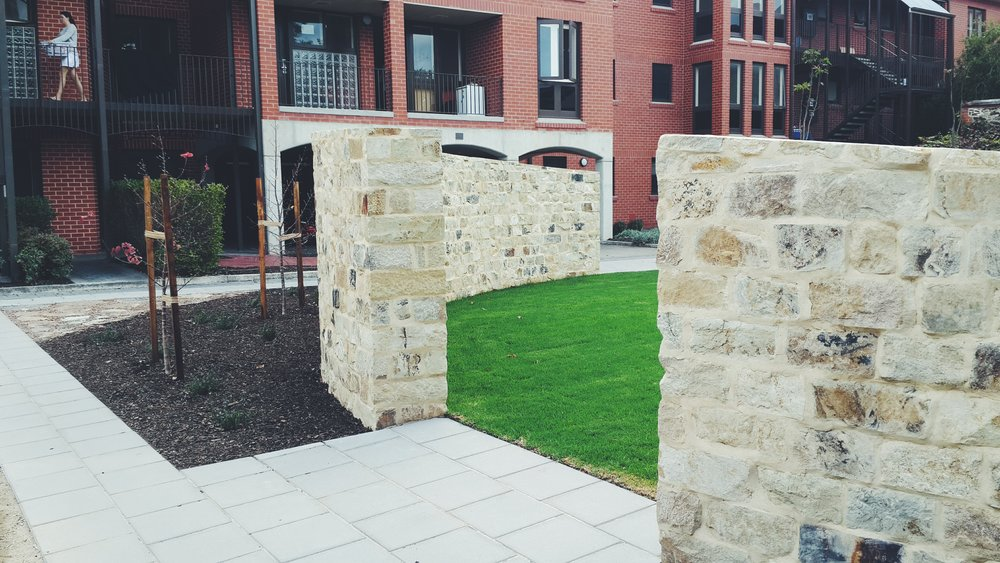 Basket Range Sandstone Feature Walls. North Adelaide, South Australia.