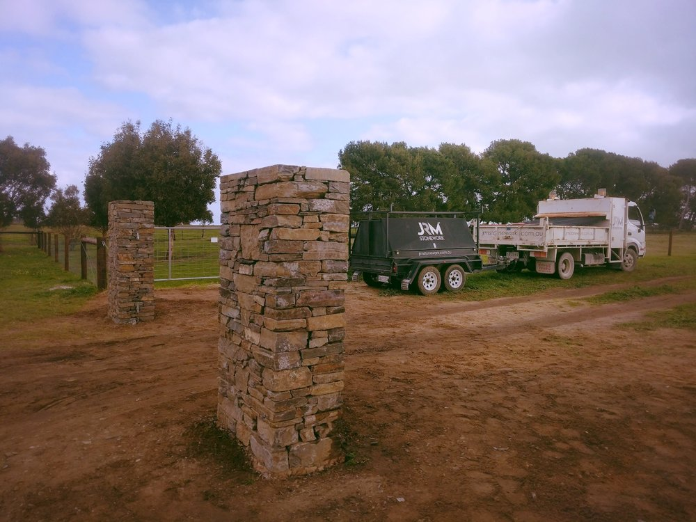Dry Joint Bluestone Gate Pillars. Finniss, South Australia