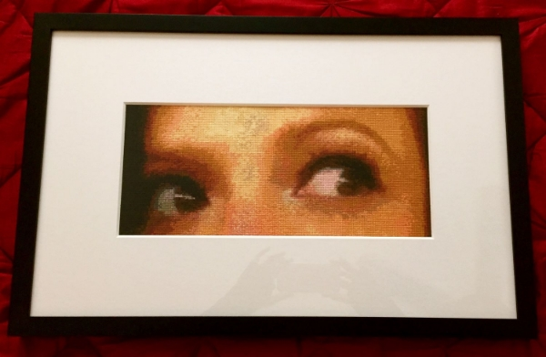 Spanish Eyes, x stitch portrait of my own eyes, 2015.