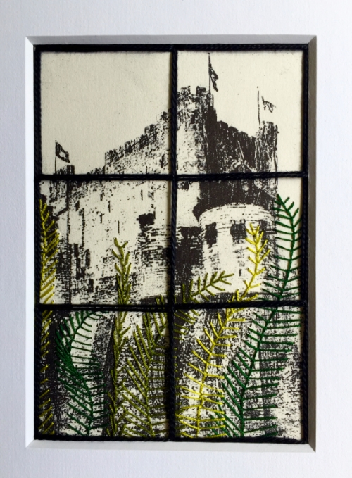 Peering through a window upon a Castle. Hand embroidery on a print.
