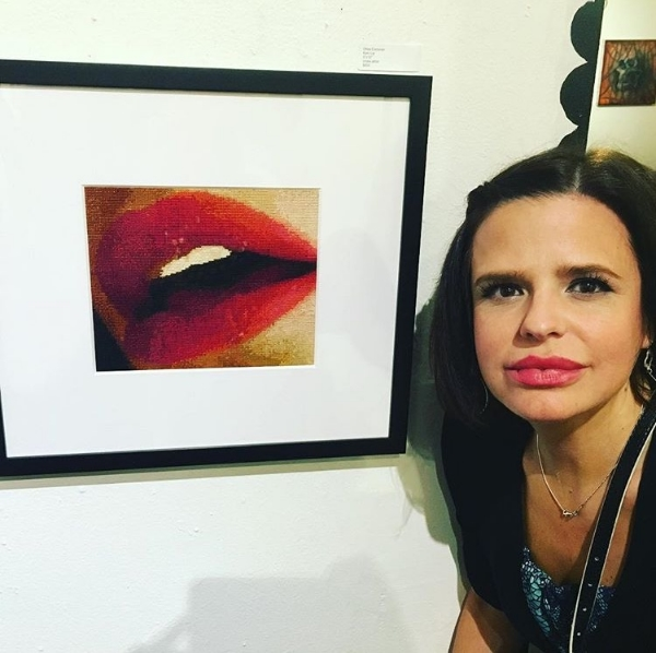 In front of my Epic Lips, 2015, opening night, The Hive Gallery. (Photo by Rebecca Levi)