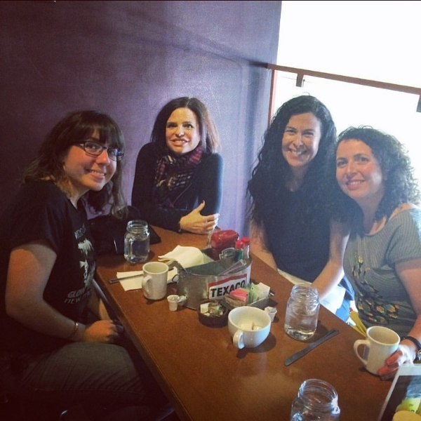 Annette, Heully, me, Michelle Kingdom and Rebecca Levi at brunch at The Waffle on Sunset Blvd.