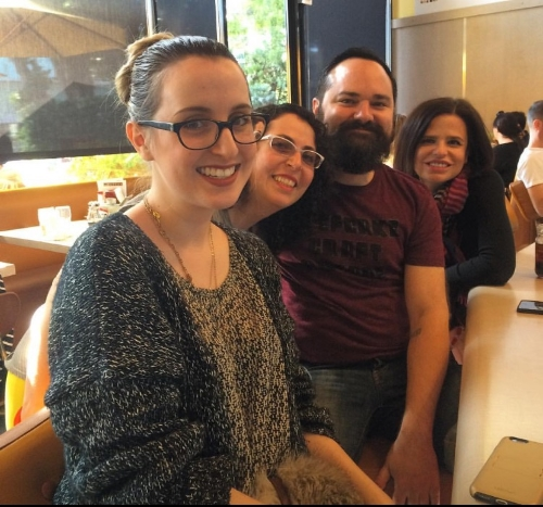 Brunch fun times, with Emma Rose Laughlin, Rebecca Levi and Matthew Monthei.