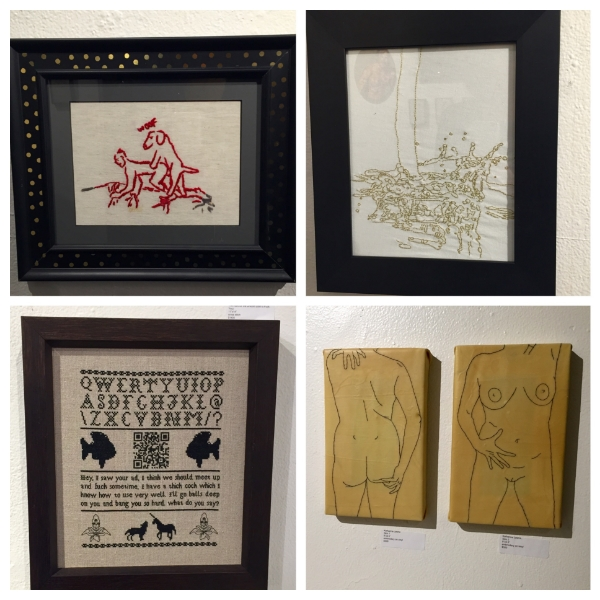 Clockwise: work by Bascom Hogue, Mark Bieraugel, Katharine Lawrie and Spike Dennis.