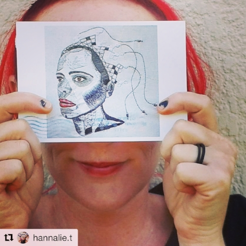 South African artist Hannalie Taute with a postcard I sent of Beneath/Within. Sending prints of your work is a great way to share it!