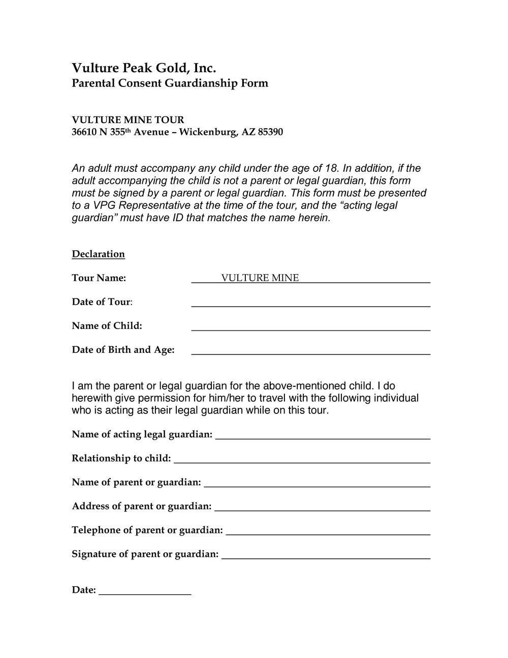 Parental Consent Form Vulture Mine – Parental Consent Form