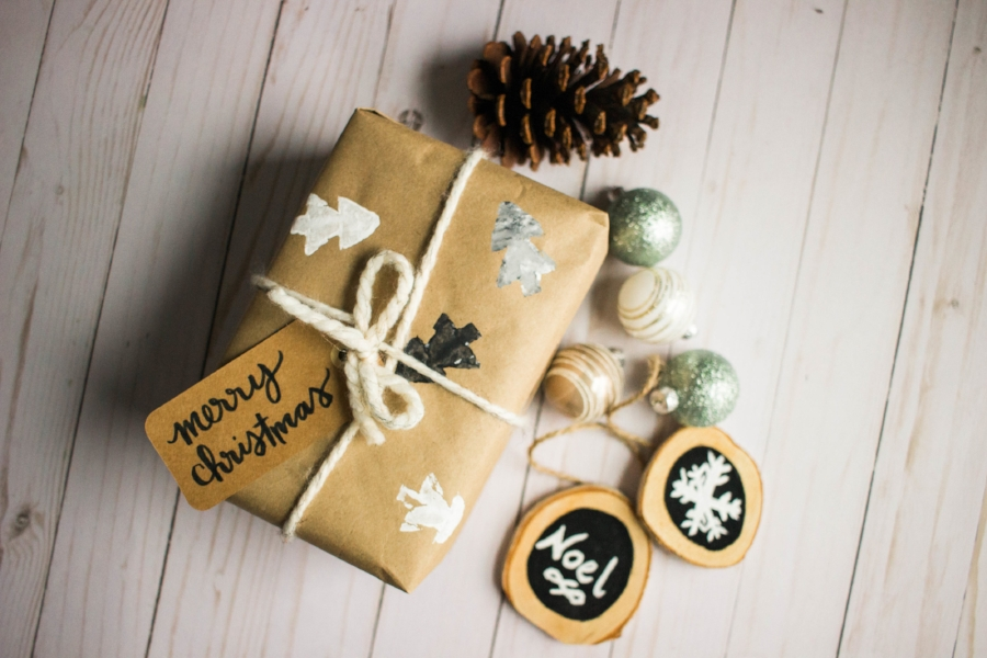DIY Stamped Wrapping Paper