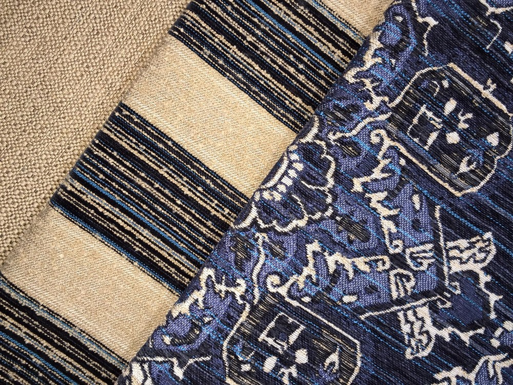 Sophisticated Oriental Carpet pattern, which coordinates with STI's textured chenille and boucle stripe and Sugarshack woven basket design.