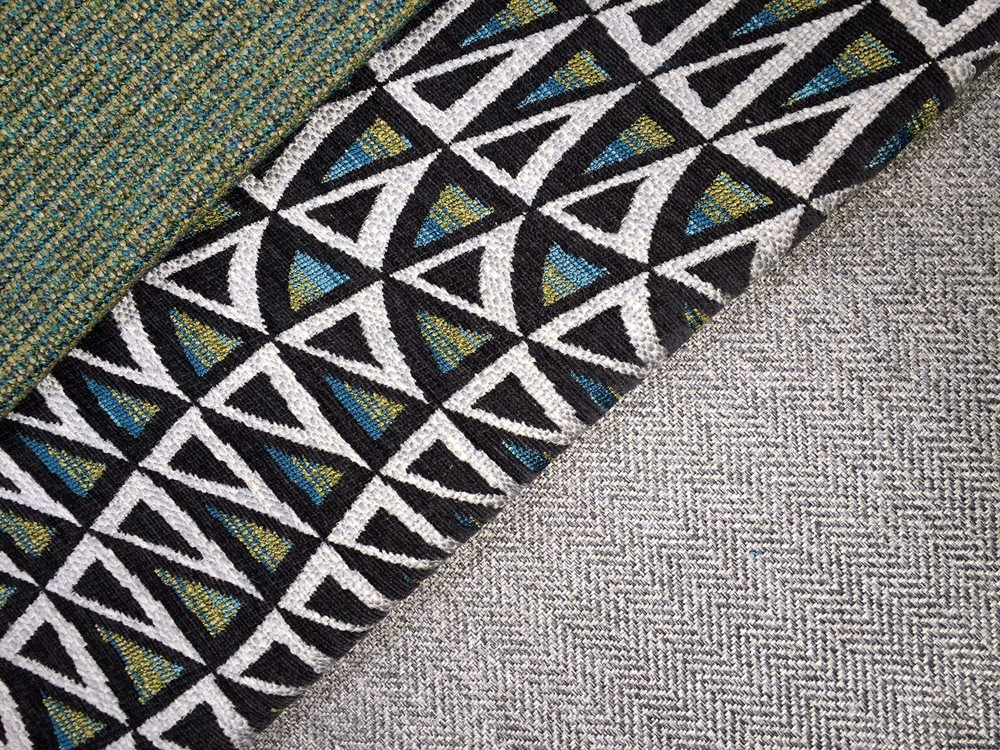 Wavey Gravey, inspired by mid-century jacquards; Romero, a classic chevron woven; and Truckin', woven with luxurious boucle yarns.