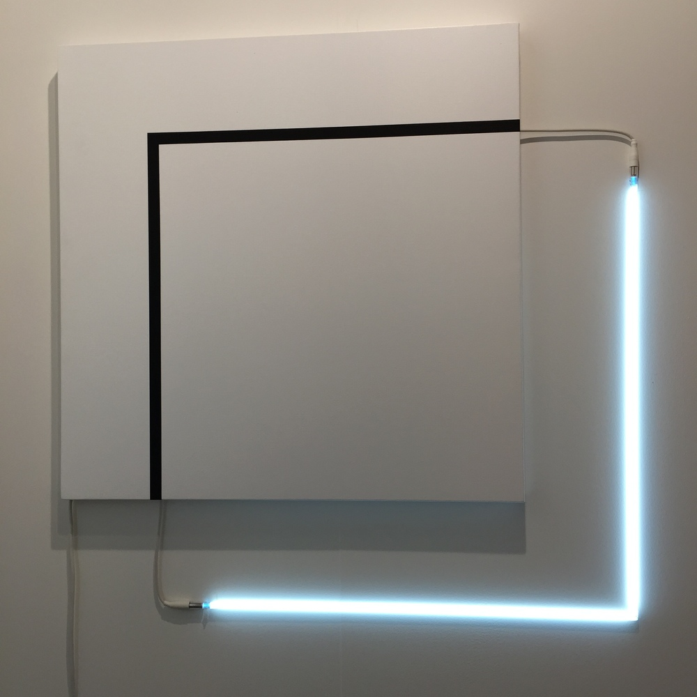 François Morellet | Carrément bricolé n°3 2013, Acrylic on canvas and white neo