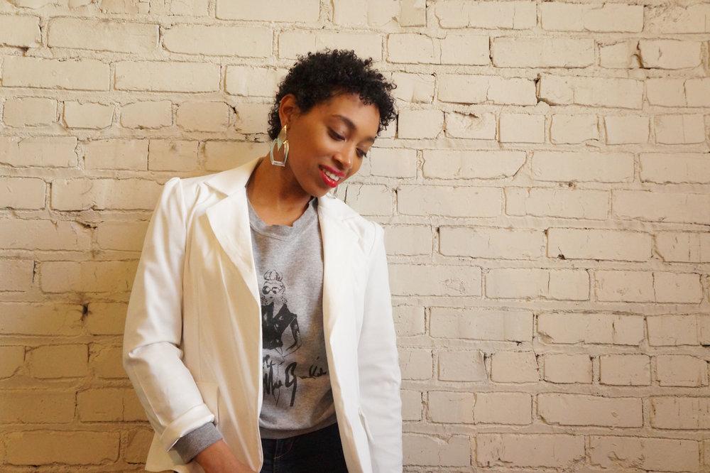 blazer  AF  sweatshirt  Kris Keys x Style Junkie  jeans H&M  earrings C&P Beauty Supply  shoes  ROSS