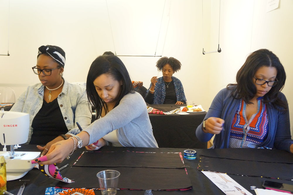 Brunch and Sew March Workshop instructing african print oversized pillow workshop
