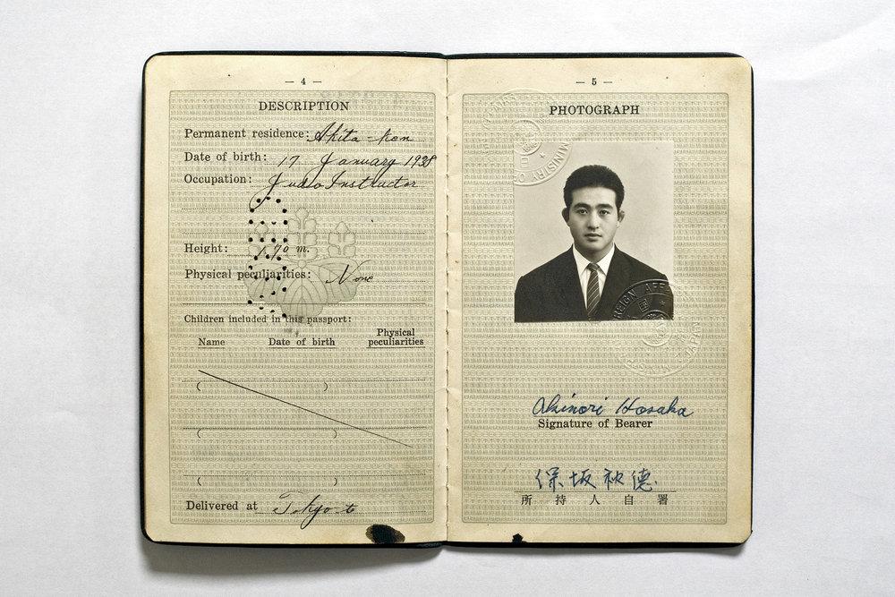 Akinori Hosaka's passport, 1962.