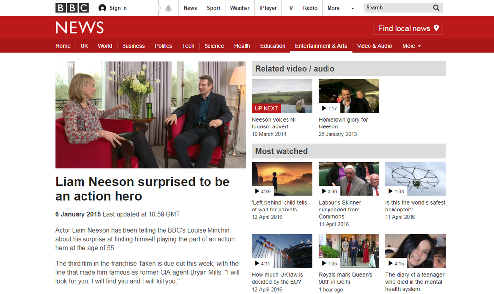 BBC Breakfast Liam Neeson
