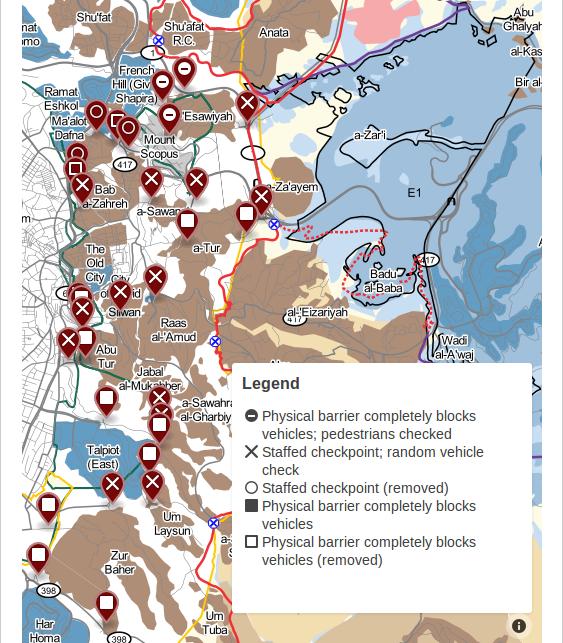Checkpoint map courtesy of B'tselem, http://www.btselem.org/