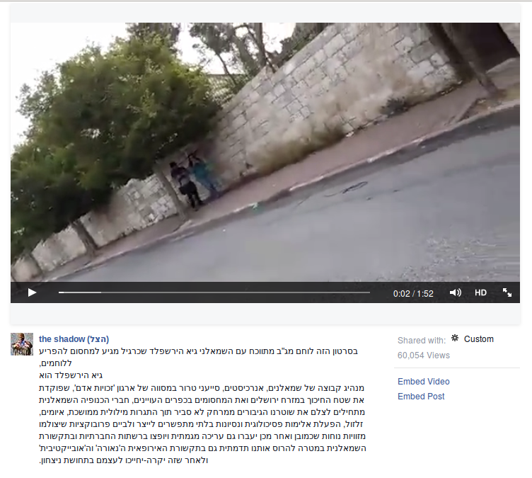 The post on The Shadow's Facebook page featuring a video, filmed by a border guard, of anti-occupation activists monitoring one of the checkpoints in A-Tur. The author is the figure on the right in the above screenshot.