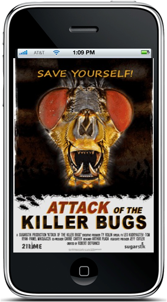 """211me - I created the concept and design for Attack of the Killer Bugs. The game highlighted the touch function and feedback of the first gen iPhone. You squished bugs as fast as you could and if you got""""bit"""" the screen would bleed and vibrate. The game was sold through the App Store and received high ratings."""
